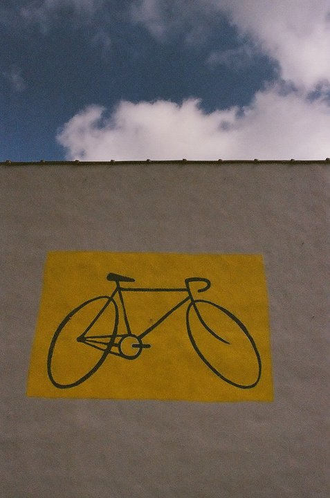 Bicycle painted on the side of our old building at 1908 N. Market Street