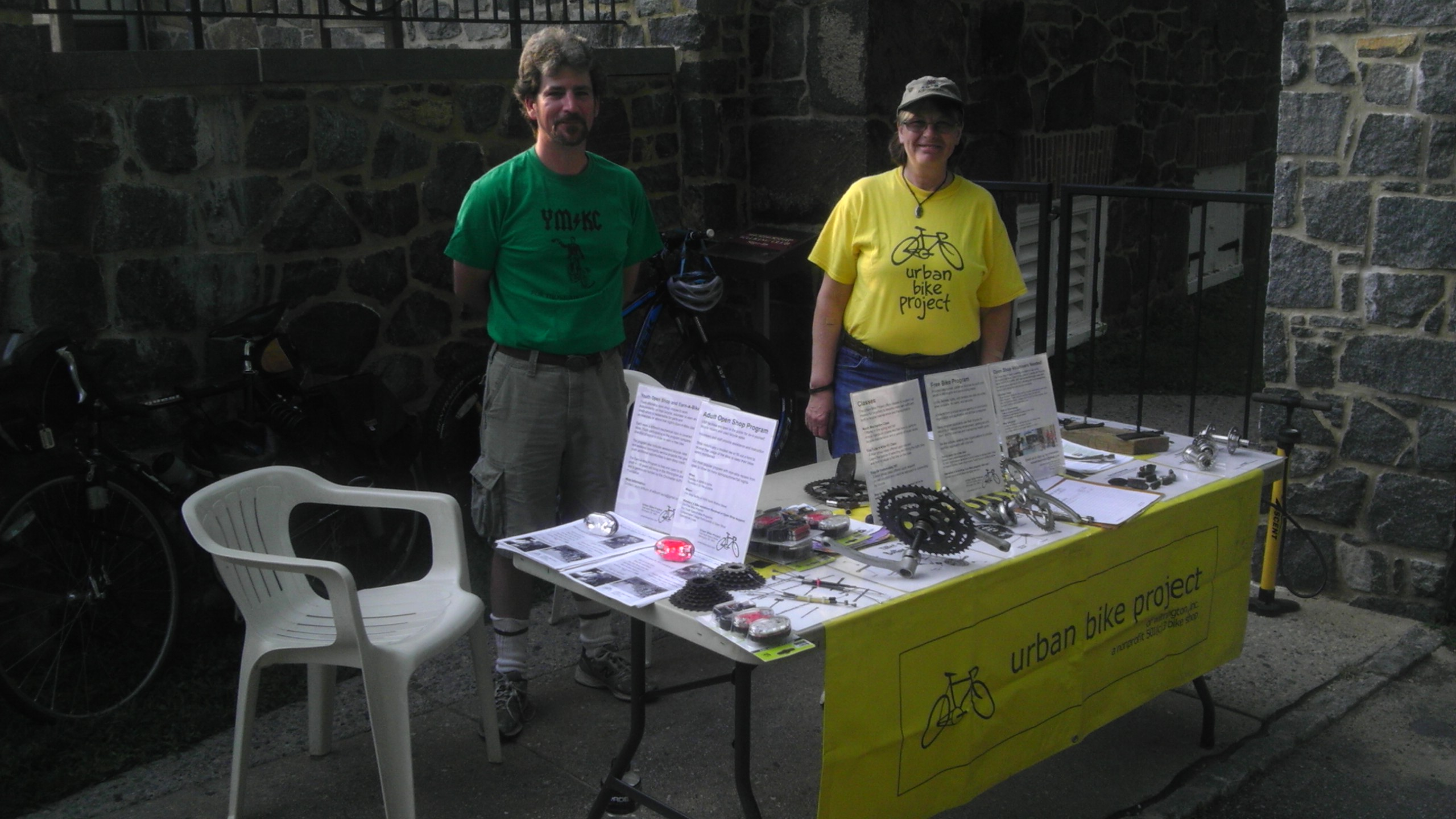 Alex and Mary staffing the Urban Bike Project table at Hagley's Bike and Hike.