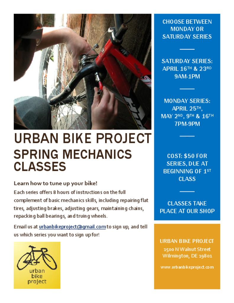 Spring Mechanics Class 2016 Flyer - Urban Bike Project
